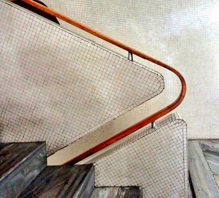 Stairs and railing by Gio Ponti  I Sede Rai Corso Sempione  I  Italian mid century modern architecture