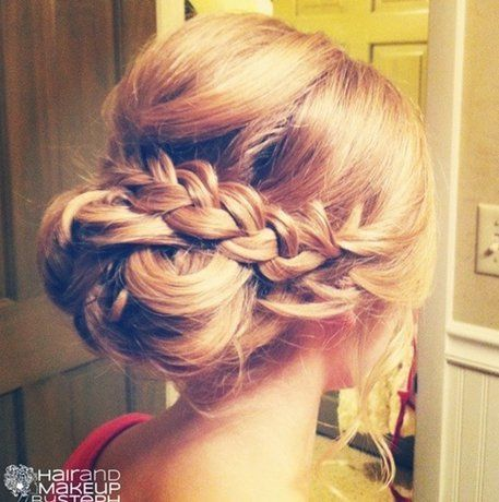 Romantic Braided Updo for Medium Length Hair