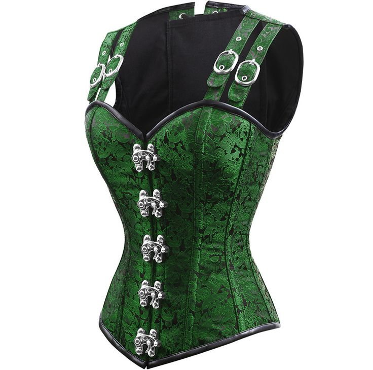 The Violet Vixen - Double-Barreled Tinker Lucky Charmed Corset, $140.00 (http://thevioletvixen.com/corsets/double-barreled-tinker-lucky-charmed-corset/) Emerald Green Steel boned waist training corset with strong cord lacing and brass antique clasp front. Neo Victorian Gothic Corset Steampunk.
