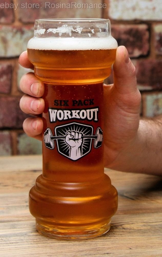 (£14.99 - FREE POSTAGE) No gym today? Worry not, work those biceps and sit back with a six pack! #Six #Pack #Workout #Glass #Novelty #Dumbbell #Weight #Gym #Addict #Drinking #Exercise