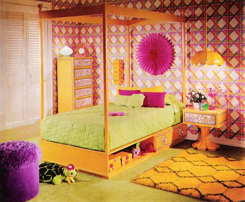 """Seventeen Magazine, March 1970. """"See the canopy bed. Can you resist it? Sleeked up, contemporary, it has a beautiful bonus of undercover storage."""""""