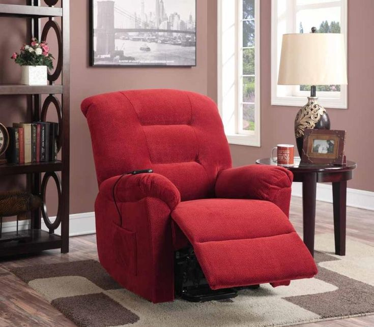 brick red chenille fabric power lift recliner chair by coaster