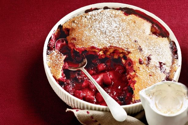 Mixed apple & berry sponge pudding