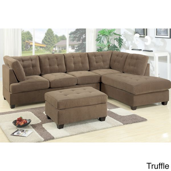 Odessa Waffle Suede Reversible Sectional Sofa With Ottoman   Overstock™  Shopping   Big Discounts On