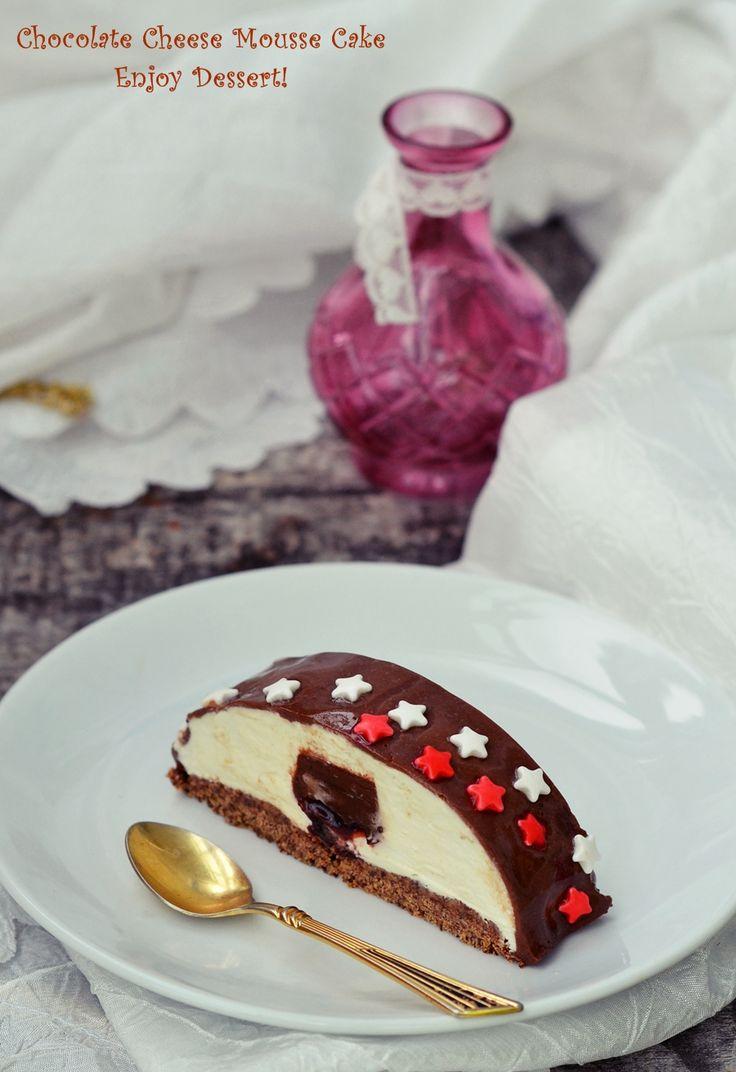 Prajitura cu mousse de branza, ciocolata si visine