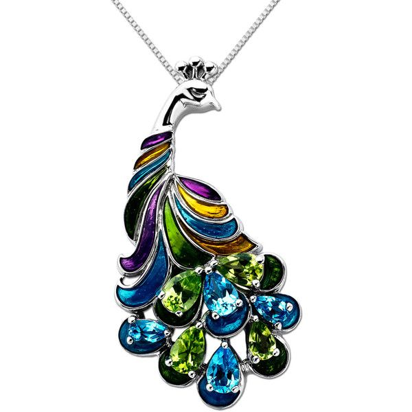 Lord & Taylor Multi-Stone Peacock Pendant In Sterling Silver ❤ liked on Polyvore
