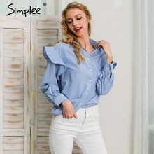Simplee long sleeve blouse shirt women tops blusas Casual blue striped shirt feminine blouses 2017 Ruffle blouse chemise femme   Tag a friend who would love this!   FREE Shipping Worldwide   Get it here ---> https://tshirtandjeans.store/products/simplee-long-sleeve-blouse-shirt-women-tops-blusas-casual-blue-striped-shirt-feminine-blouses-2017-ruffle-blouse-chemise-femme/