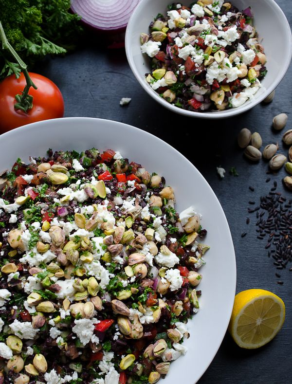 Black Rice Tabbouleh with Chickpeas Feta and Pistachios: black rice adds so much nutty nutrition along with hearty chickpeas, tangy feta and crunchy pistachios.