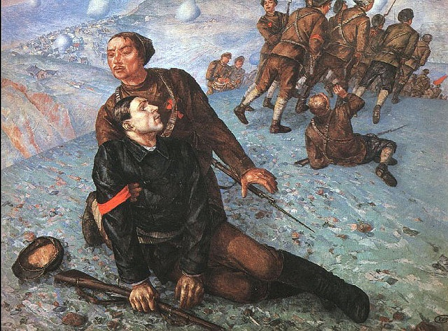 Petrov-Vodkin, Kuzma (1878-1939) - 1928 Death of a Commissar (Russian Museum)    Kuzma Petrov-Vodkin was born in Khvalynsk into the family of a local shoemaker. His first exposure to art was in his early childhood, when he took some lessons from icon painters and a signmaker.