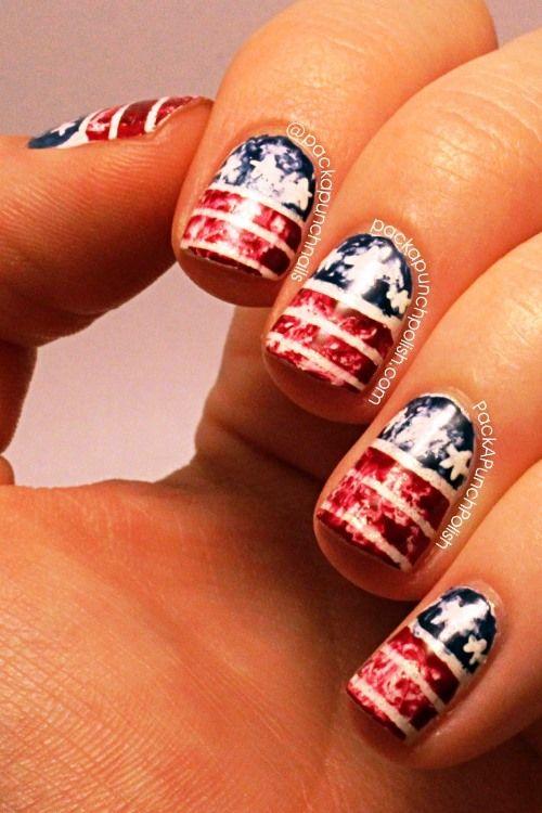 Distressed American Flag Nail Art Tutorial | AmazingNailArt.org - Best 25+ Flag Nails Ideas On Pinterest American Flag Nails