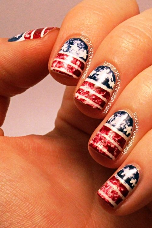 17 Best Ideas About American Flag Nails On Pinterest