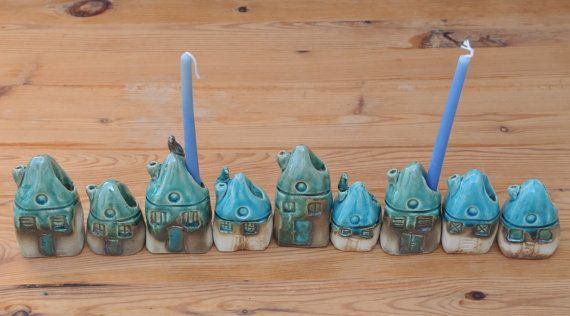Ceramics Menorah with small houses  Hanukkah by SergioFaingold, $105.00