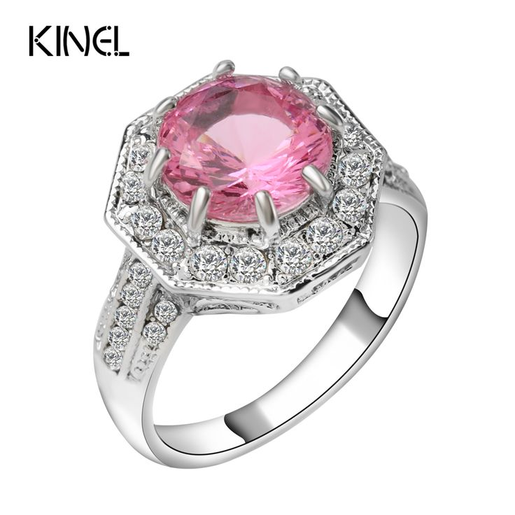 Kinel Vintage Jewelry Wholesale Pink Crystal Ring Silver Plating Round Engagement Rings For Women Christmas Gift