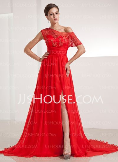 Evening Dresses - $136.99 - A-Line/Princess Off-the-Shoulder Chapel Train Chiffon Evening Dress With Ruffle Lace (017014210) http://jjshouse.com/A-Line-Princess-Off-The-Shoulder-Chapel-Train-Chiffon-Evening-Dress-With-Ruffle-Lace-017014210-g14210