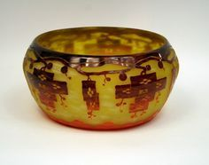 "Frenes Bowl by LE VERRE FRANCAIS. Yellow glass vase spotted w/ opaline yellow, overlaid w/ orange to violet, acid etched an wheel carved into the Frenes pattern by Le Verre Francais. Made in France circa 1924-27. Signature: Le Verre Francais. Ref: Schneider by Joulin-Maier p. 137 ""Schneider Maitre Verrier"" by G. Bertrand p. 86 (hva)"