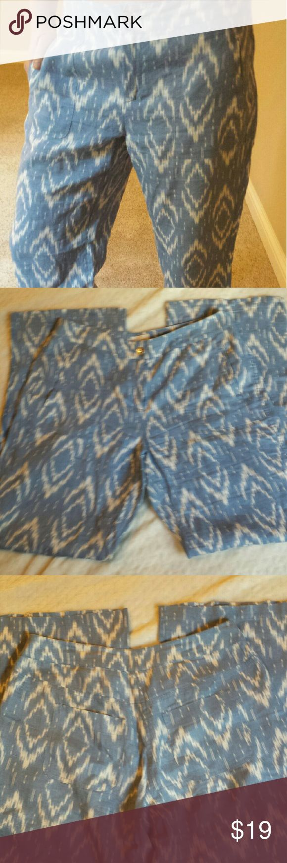 "Chico's Linen Aztec Pants So comfortable. Like new, soft blue and linen Aztec print pants. Loose fit. Wide leg. Zip front. Side and back pockets. 31 "" inseam. Waist is 34"". Chico's Pants"