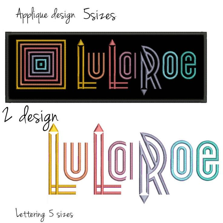 LuLaRoe applique Embroidery Design set digital download mode design logo pattern instant download by GretaembroideryShop on Etsy