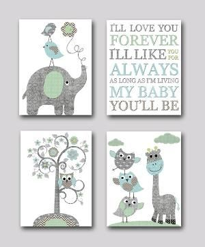 Gray and blue Elephant Nursery Giraffe Nursery Print Baby Room Decor Baby Nursery Decor Baby Boy Nursery Kids Wall Art Kid Art set of 4 8x10 by artbynataera