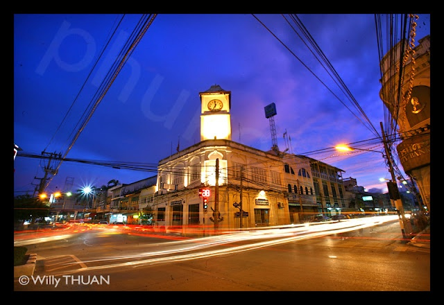 The clock tower in the Old Phuket Town - http://phuket101.net/2011/11/phang-nga-bay.html
