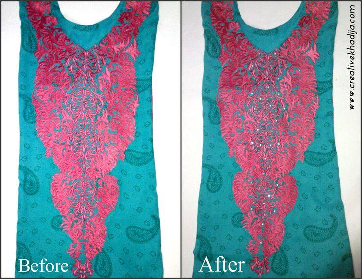Creative Mind Khadija | Rhinestones on Shirt Embroidery http://creativekhadija.com/2015/02/rhinestones-on-shirt-embroidery-neckline-design/ #refashion #DIY #embroidery