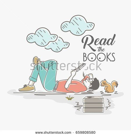 Read the books, illustration of a young man reading the book in fun moments.