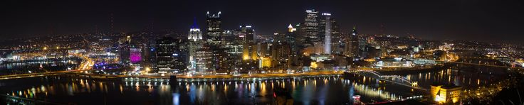 Pittsburgh PA at night from Mt Washington on 4Dec2012 [12072  2440] [OC]