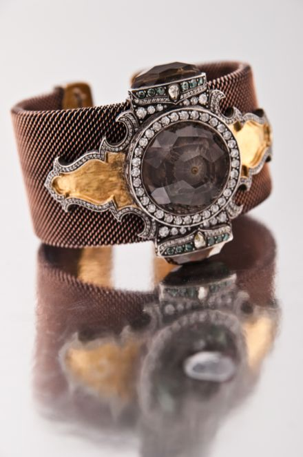 Sevan Biçakçi: bracelet in gold, silver, diamonds, and a smoky topaz with an engraved intaglio. Inspired by the Hagia Sophia