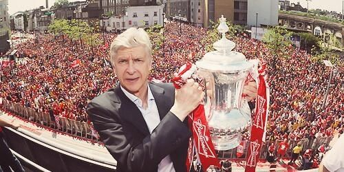 Arsene Wenger at the victory parade