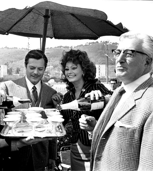 Marcello Mastroianni, Sophia Loren and Vittorio De Sica on the set of Matrimonio Allitaliana, 1964