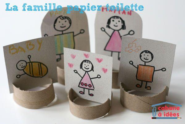 Activité créative : Vos enfants pourront reproduire les différents membres de votre famille à l'aide de tubes de papier toilette.