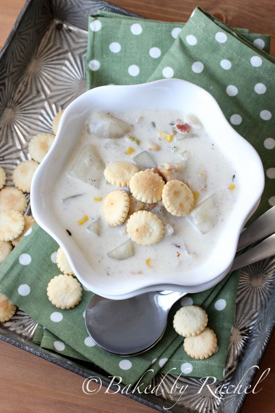 Slow Cooker New England Clam and Corn Chowder Recipe by @Rachel {Baked by Rachel}