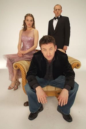 Not Going Out. Image shows from L to R: Kate (Megan Dodds), Lee (Lee Mack), Tim (Tim Vine). Image credit: Avalon Television.