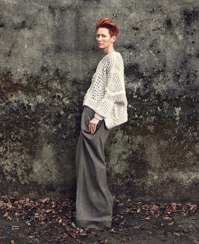 "tilda swinton - ""I am very often referred to as 'sir' in elevators and such.  I think it has to do with being this tall and not wearing much lipstick.  I think people just can't imagine I'd be a woman if I look like this"""