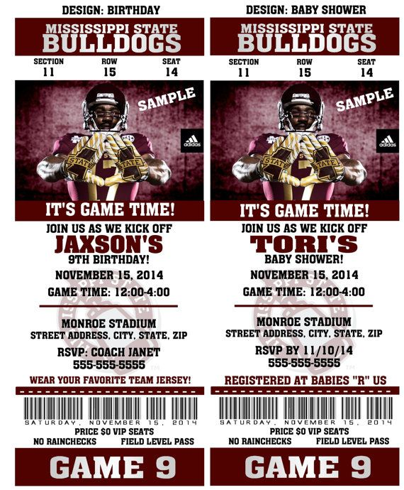 QTPIEWRAPPERS, Designer of custom Sports Tickets Invitations. YOU ARE PURCHASING A PRINTABLE FILE (NO MAIL DELIVERY)  Make your special event memorable with these NCAA Football Ticket Invitations that your guests will surely love! I can change the wording to fit any event such as birthdays, bar mitzvahs, baby showers, weddings, save the dates, bridal showers, anniversarys and so much more. Very simple and cost effective. I design and you print at any Print Store or Photo Lab of your choice…