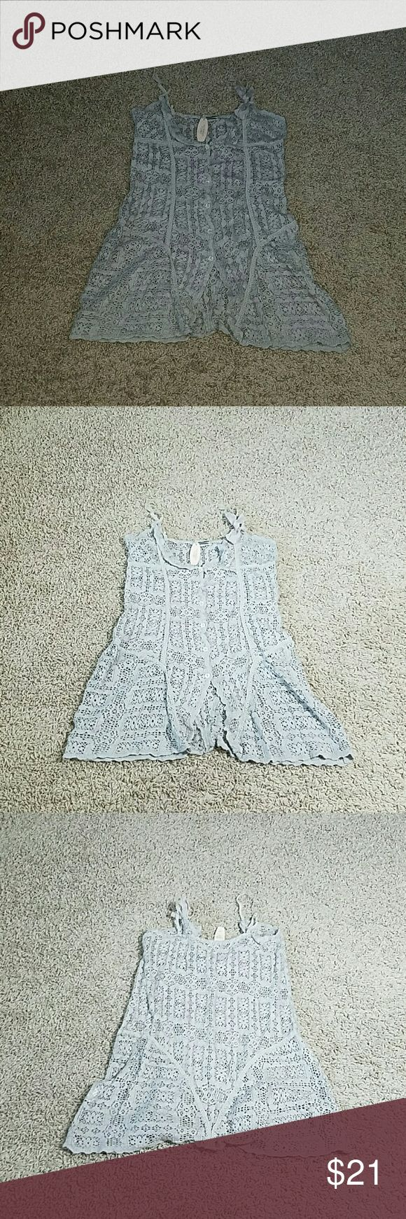 VICTORIA'S SECRET Top Gray Victoria's secret Elise Aucouturier knit spaghetti straps top. size L    Subject to wear, tear and/or flaws due to used items and unknown history. Victoria's Secret Tops Tank Tops