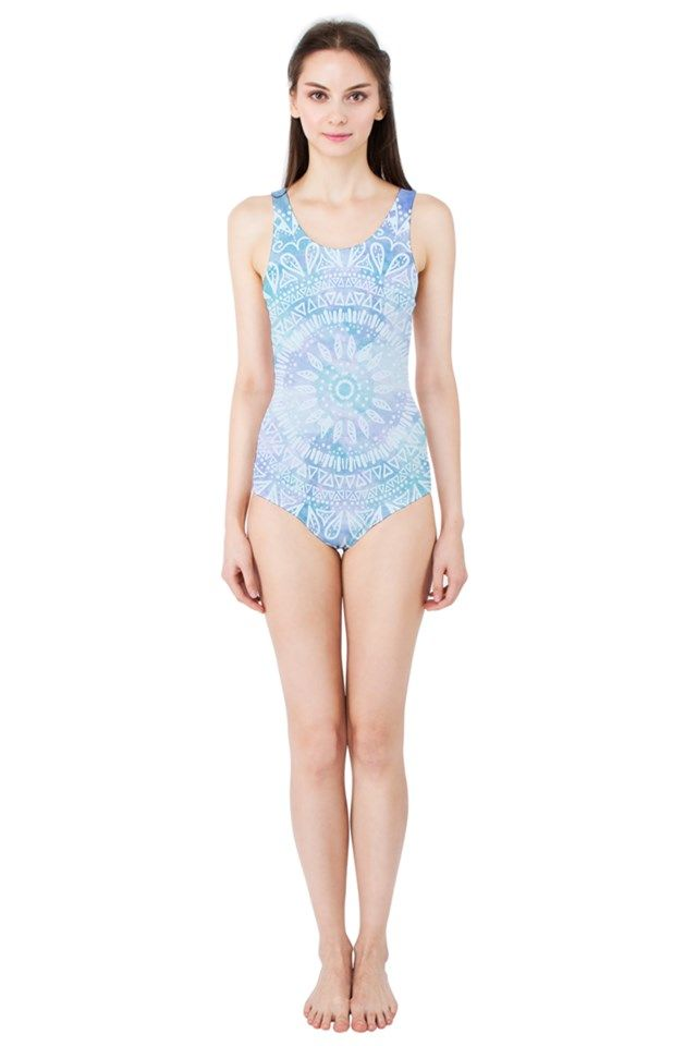 BLUE MANDALA Women's One Piece Swimsuit #FASHION #CLOTHES #SWIMWEAR #SWINSUIT #PINKCESS #NIKAMARTINEZ #BLUE #MANDALA #WHITE #OCEAN #BEACH #DESIGNER #PATTERN #COOL #TREND