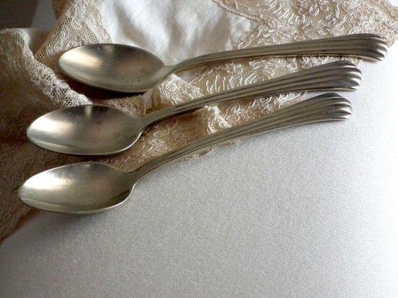 3 Art Deco Silver Tea Spoons by Allerim on Etsy, $21.00