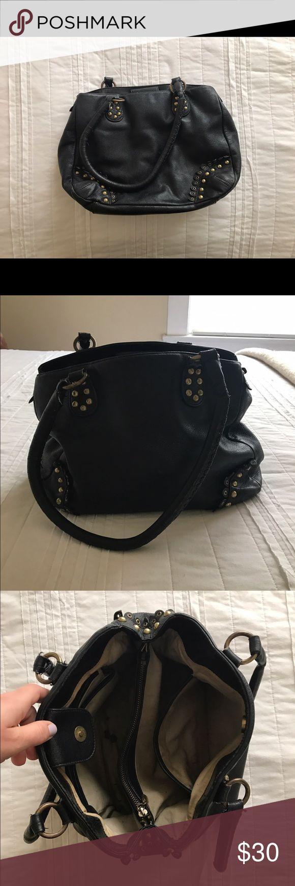 Gianni Bini Black Leather Handbag Gianni Bini used black leather handbag with brass hardware. Gianni Bini Bags Shoulder Bags