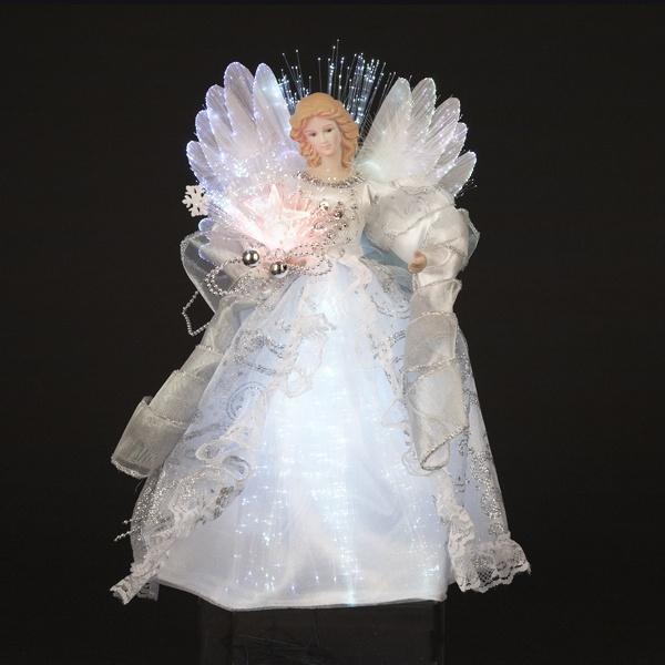Shimmering White And Silver LED Light Fiber Optic Angel Christmas Tree  Topper   30955196