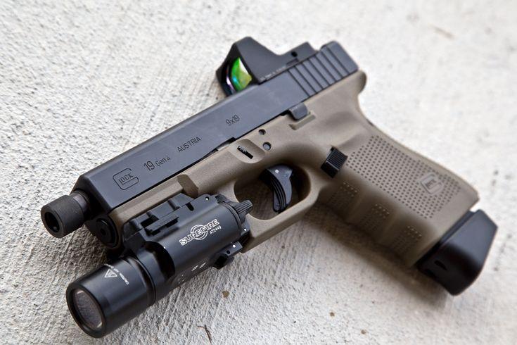 Glock 19 Gen4 FDE w/Trijicon RMR + SureFire X300 + threaded barrel + extended magazine