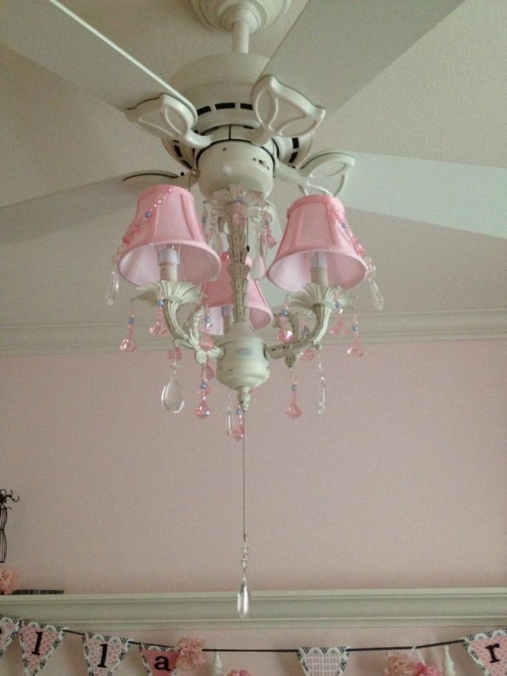 Pink Chandelier On The Fan Girls Ceiling Fan Chandelier