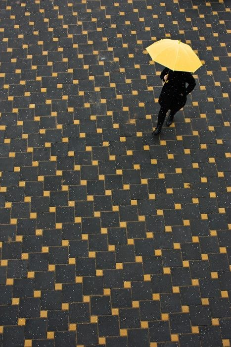 : Polka Dots, Yellow Umbrellas, Floors, Tile Patterns, Color, Art, Yellowumbrella, Photography, Black