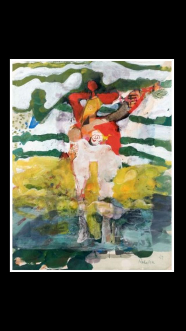 """Paul Rebeyrolle - """"Personnage (Étude pour le personnage de gauche sur la fresque """"Planchemouton""""), 1959 - Technique mixte sur papier - 64,5 x 49 cm (*)"""