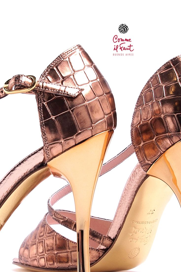 Comme il Faut Bronce Croco High Heel Dancing Shoes for Tango, Salsa and Kizomba. Find New Collections at Lisadore Every Month!