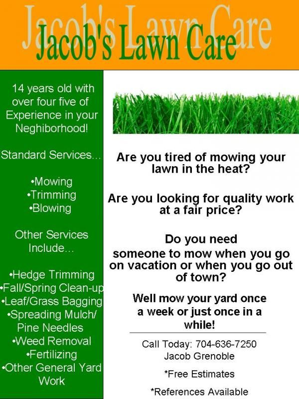 My Lawn Care Flyer What Do You Think Lawnsite H Pinterest