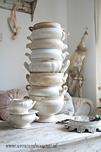 """Servies en Brocante: Wieze winkeltjes route 2012 Ironstone Tureen Tower. I love these """"shades of white"""" ironstone tureens, dishes, bowls....anything."""