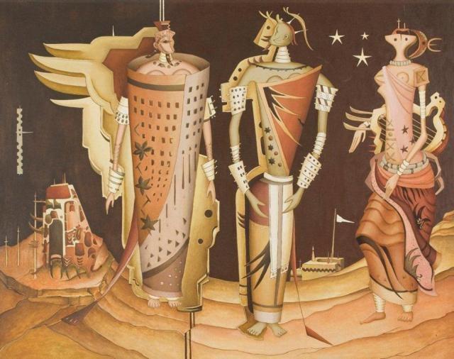 Alexis Preller. Hieratic Women 1955-57. Oil on canvas