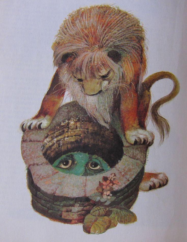 The Lion and his reflection. Karel Franta vintage illustration. Czech illustrator. Animal fairy stories.