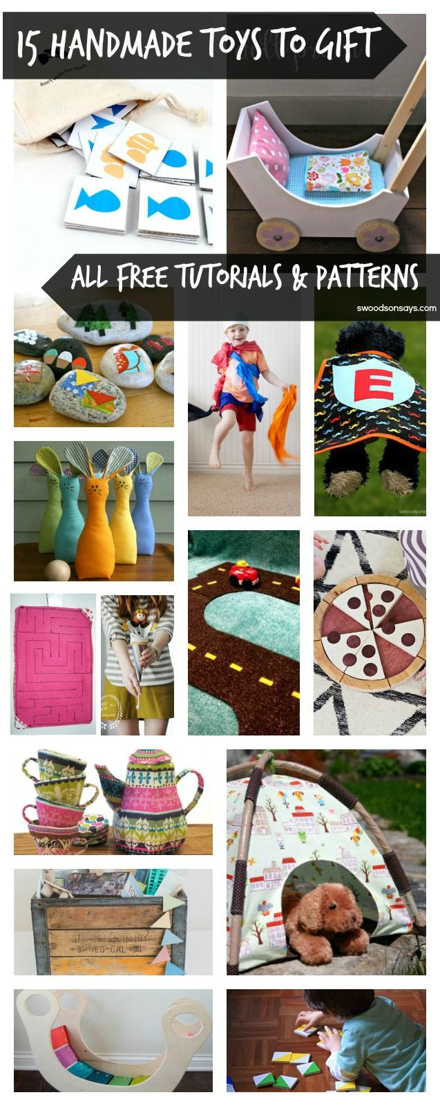 Handmade Toys to Gift Kids – 15 Free Patterns and Tutorials from Swoodsonsays.com