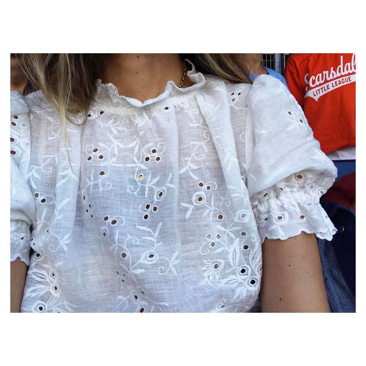 "3,465 Likes, 59 Comments - Ulla Johnson (@ullajohnson) on Instagram: ""Fitting right in at the Yankees game in my pouf sleeve eyelet linen top #motherofsons #ullajohnson…"""